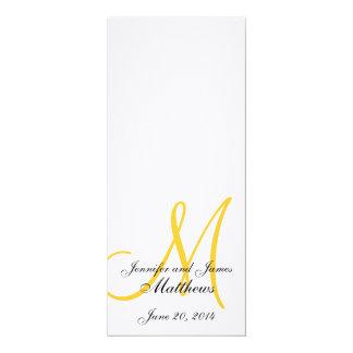 Amarillo blanco de lino del monograma del programa invitación 10,1 x 23,5 cm