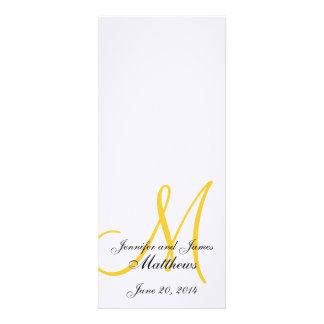 Amarillo blanco de lino del monograma del programa anuncios personalizados