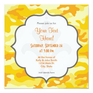 Amarillo brillante, Camo anaranjado, camuflaje Invitación 13,3 Cm X 13,3cm