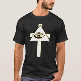 Amarillo clásico toda la camiseta del ojo de
