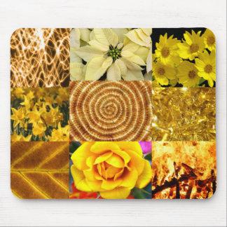 Amarillo/collage de las fotos del oro alfombrilla de ratón