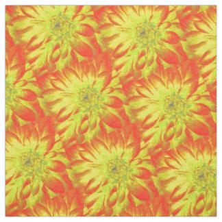 Amarillo con la dalia anaranjada del fondo telas