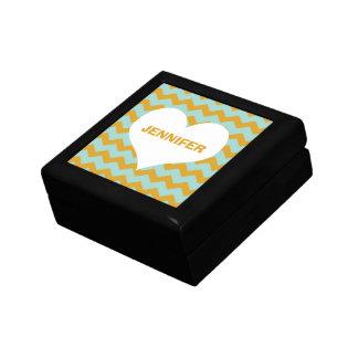 Amarillo conocido de encargo del corazón del model joyero cuadrado pequeño