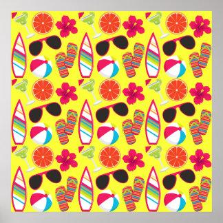 Amarillo de BeachBall de las gafas de sol de los f Posters