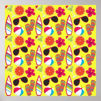 Amarillo de BeachBall de las gafas de sol de los Póster