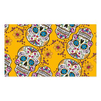 Amarillo de Halloween del cráneo del azúcar Plantilla De Tarjeta De Visita
