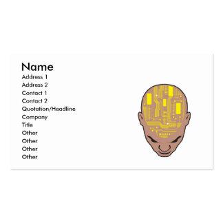 amarillo de la cabeza del cerebro de la placa de tarjetas de visita