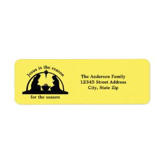 Amarillo de la escena de la natividad - etiqueta