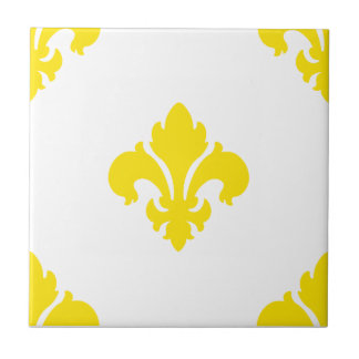 Amarillo de la flor de lis 1 teja cerámica