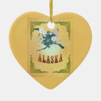 Amarillo de la fruta de la pasión del mapa del adorno de cerámica en forma de corazón