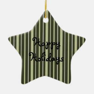 Amarillo de las telas a rayas 2 - buenas fiestas ornamento de navidad