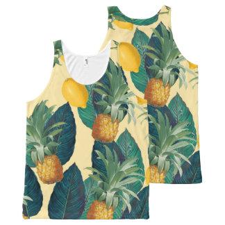 amarillo de los limones de las piñas camiseta de tirantes con estampado integral
