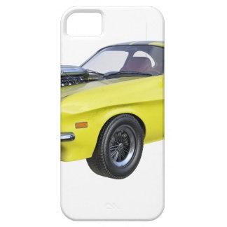 Amarillo del coche de 1970 músculos con la raya funda para iPhone SE/5/5s