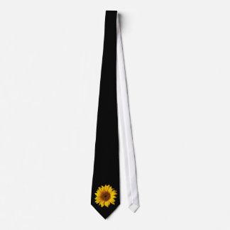 Amarillo del girasol en el negro - flores corbata personalizada