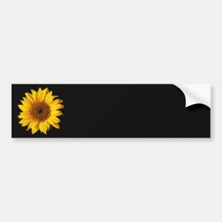 Amarillo del girasol en el negro - flores modifica pegatina de parachoque