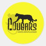 amarillo del puma logo1a pegatina redonda