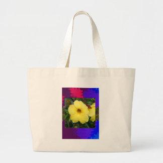 Amarillo elegante barato de la flor de la ORQUÍDEA Bolsa Tela Grande