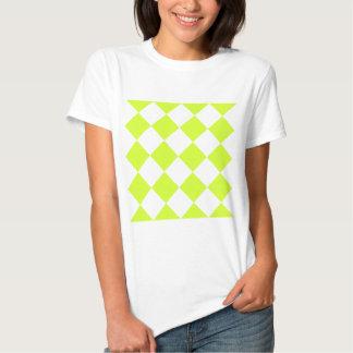 Amarillo Grande-Blanco de Diag y fluorescente a Camiseta