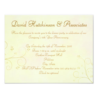 Amarillo Inviteation Ca de la recepción de la cena Invitación 10,8 X 13,9 Cm