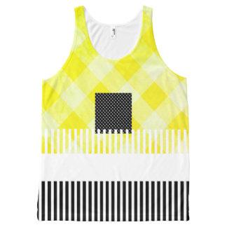Amarillo-Negro-Verano-Diversión-Mujer-Tanque-Top Camiseta De Tirantes Con Estampado Integral