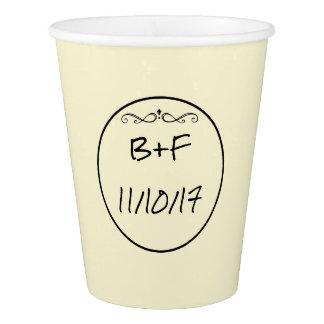 Amarillo personalizado casando la taza vaso de papel
