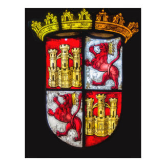 Amarillo rojo del escudo de armas del castillo del folleto 21,6 x 28 cm