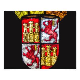 Amarillo rojo del escudo de armas del castillo del folleto 11,4 x 14,2 cm