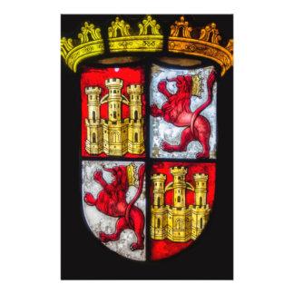 Amarillo rojo del escudo de armas del castillo del folleto 14 x 21,6 cm