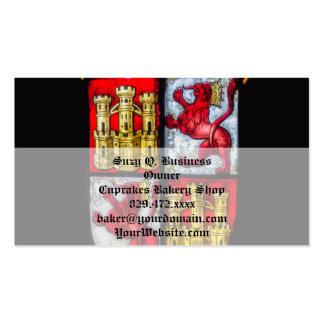 Amarillo rojo del escudo de armas del castillo del tarjetas de visita