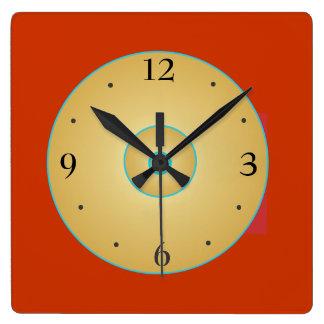 Reloj Cuadrado Amarillo rojo simplista con el reloj de