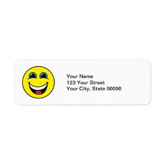 Amarillo sonriente de risa de la cara etiquetas de remite