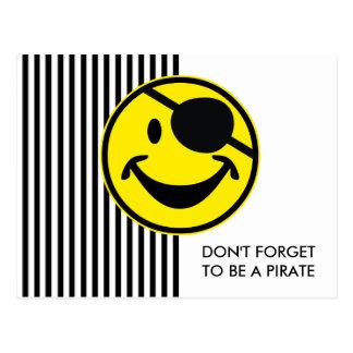 Amarillo sonriente y rayas del pirata + su parte postal