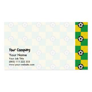 Amarillo verde a cuadros con los balones de fútbol plantilla de tarjeta personal