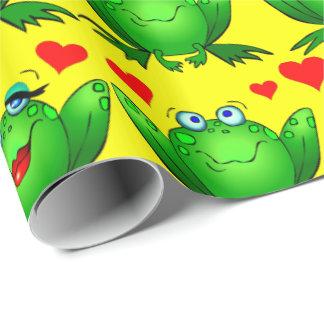 Amarillo verde lindo de los corazones del amor de papel de regalo