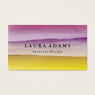 Amarillo violeta de las pinceladas abstractas tarjeta de negocios
