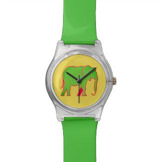 Amarillo vivo elegante del elefante fresco verde reloj de pulsera