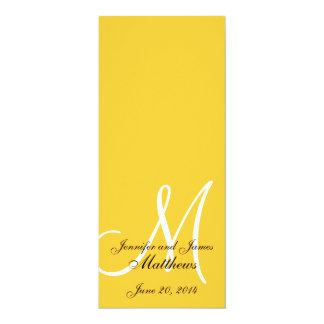 Amarillo y blanco del monograma del programa de la invitación 10,1 x 23,5 cm