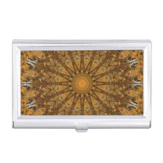 Amarillo y caleidoscopio de la mandala del otoño caja para tarjetas de visita