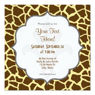 Amarillo y estampado de animales de la jirafa de invitación 13,3 cm x 13,3cm