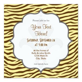 Amarillo y estampado de animales de las rayas de invitación 13,3 cm x 13,3cm