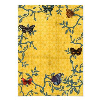 Amarillo y invitaciones de las mariposas invitación 12,7 x 17,8 cm