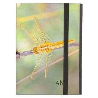 Amarillo y libélula coloreada oro funda para iPad air