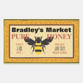 Amarillo y negro manosee la abeja modificada para pegatina rectangular