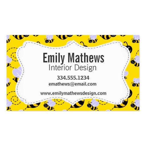 Amarillo y negro manosee la abeja tarjeta de visita