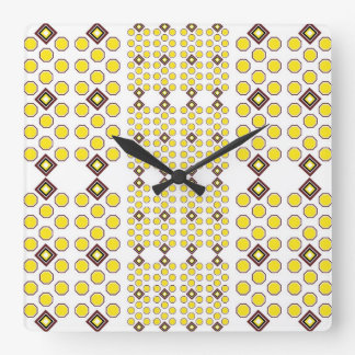 Amarillo y reloj de pared de Brown Geoometric