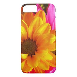 Amarillo y rosa de la flor del caso de IPhone 7 Funda iPhone 7