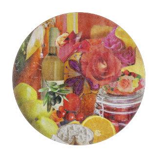 Amarillo y tabla de cortar culinaria anaranjada