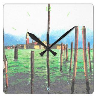 Amarres de la góndola en Venecia Reloj Cuadrado