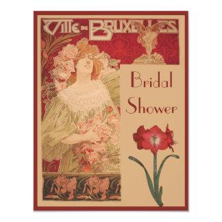 Amaryllis y señora rojos Bridal Shower de Nouveau Invitación 10,8 X 13,9 Cm