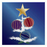 Amatista de rubíes del zafiro en el árbol de navid posters